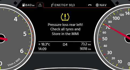 The TPMS light warns the driver of a tyre pressure loss